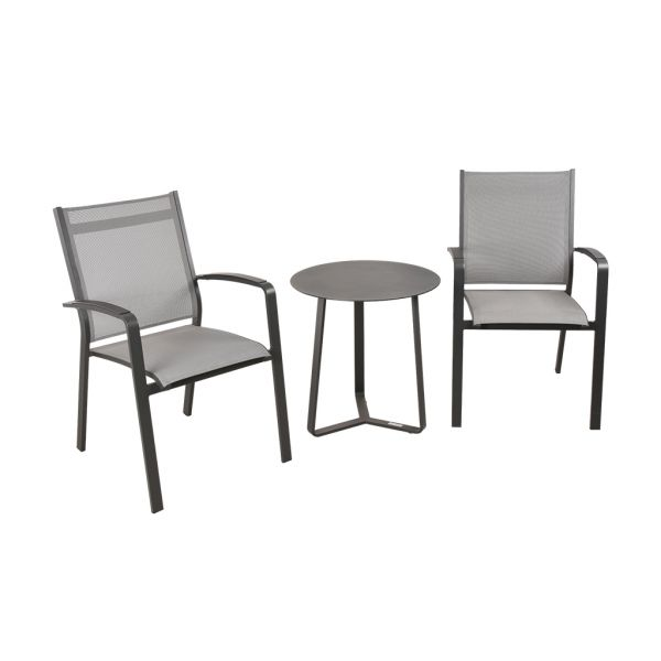 COSMO CHAIR APOLLO TABLE CHARCOAL-3PC OUTDOOR BALCONY SETTING