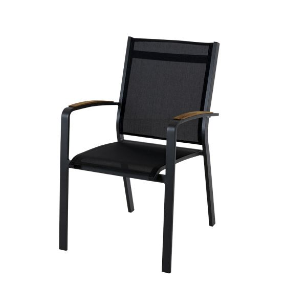 COSMO OUTDOOR TEXTILENE DINING CHAIR WITH TEAK ARM CHARCOAL/ BLACK