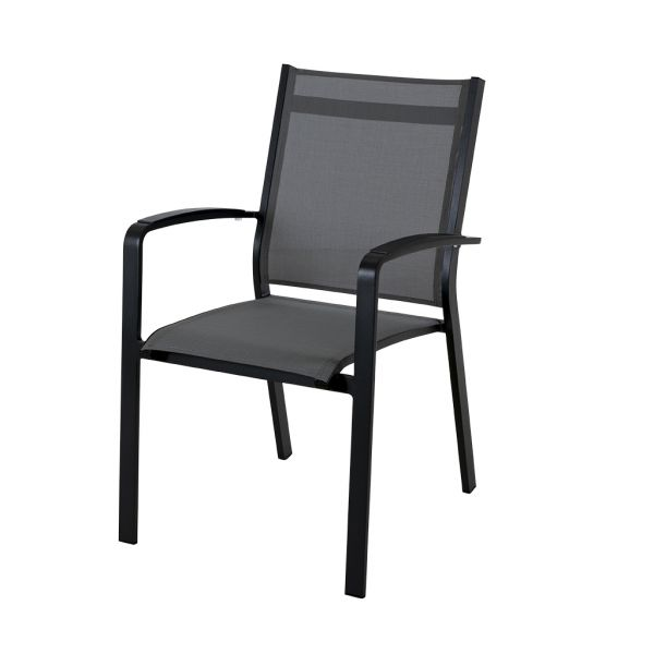 COSMO OUTDOOR TEXTILENE DINING CHAIR WITH CAST ALUMINIUM ARM CHARCOAL/SILVER BLACK