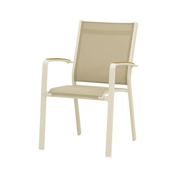 COSMO OUTDOOR TEXTILENE DINING CHAIR WITH TEAK ARM WHITE/KHAKI