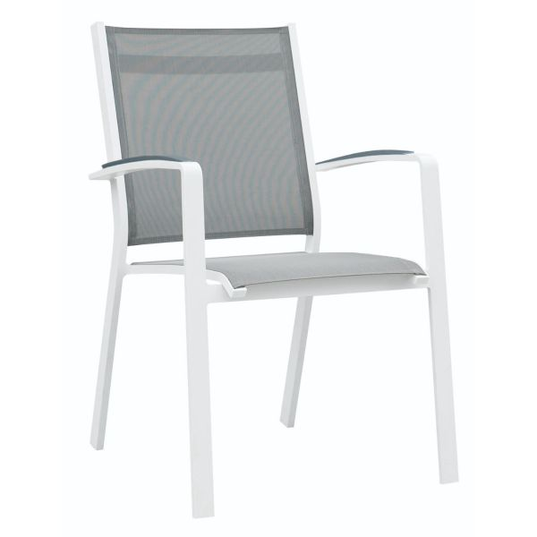 COSMO OUTDOOR TEXTILENE DINING CHAIR WITH CAST ALUMINIUM ARM WHITE/SILVER BLACK