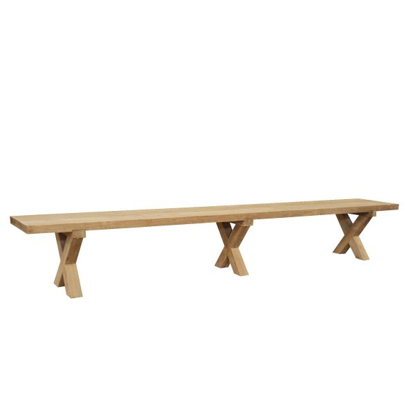 BUNBURY  OUTDOOR RECYCLED TEAK BENCH NATURAL 250X42X45CM
