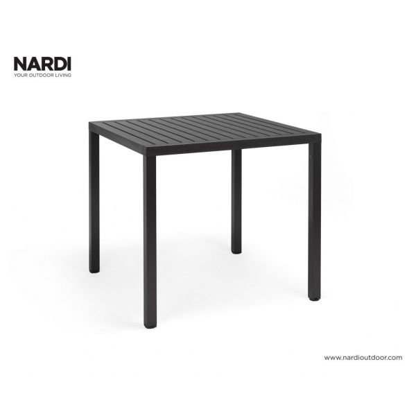 NARDI CUBE OUTDOOR RESIN DINING TABLE ANTHRACITE 80 X 80CM