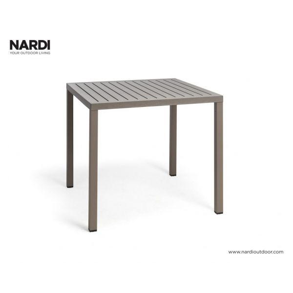 NARDI CUBE OUTDOOR RESIN DINING TABLE LIGHT BROWN (TORTORA)  80 X 80CM
