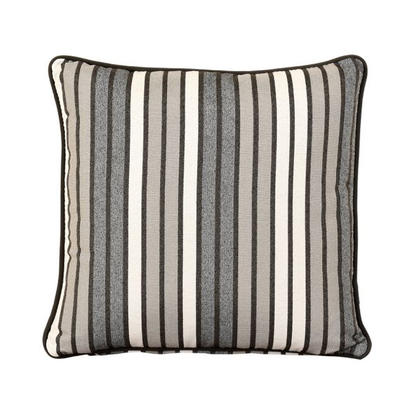 PARKER STRIPE OUTDOOR CUSHION SCATTER CHARCOAL 45 X 45CM