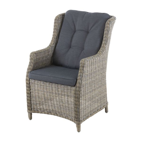 DARWIN OUTDOOR WICKER DINING CHAIR GREY WITH GREY CUSHION