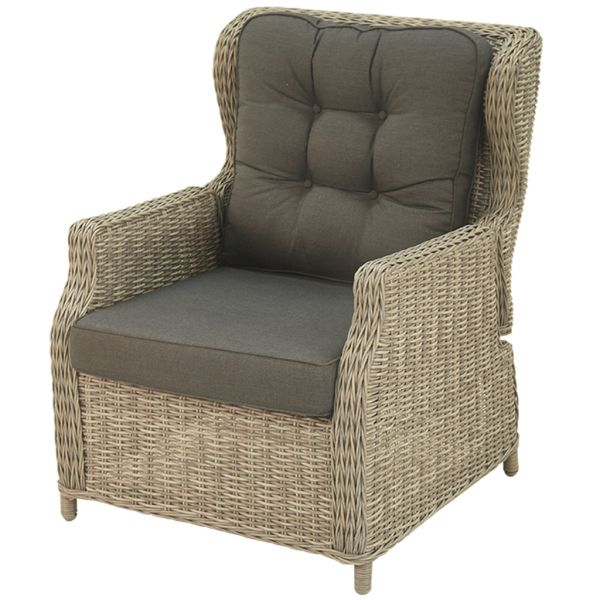 DARWIN OUTDOOR ADJUSTABLE RECLINER BALCONY CHAIR GREY WICK GREY CUSHION