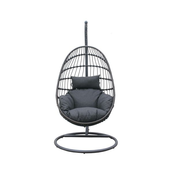 DAYTON OUTDOOR ROPE  FOLDABLE HANGING EGG CHAIR CHARCOAL
