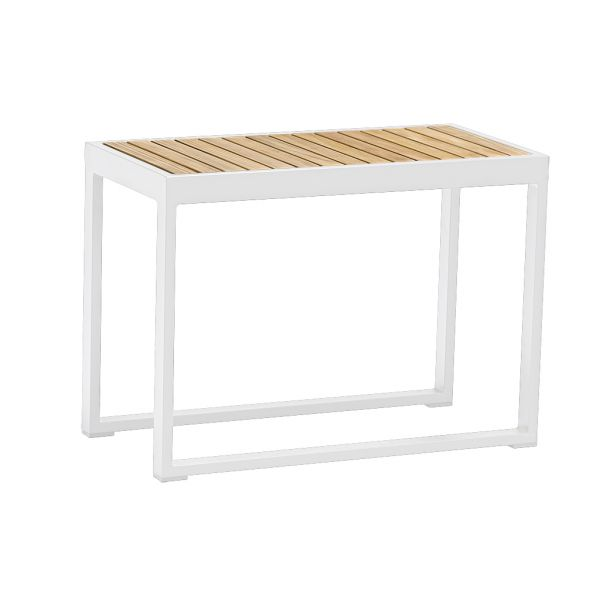 DENVER OUTDOOR HIGH SIDE TABLE 37.5x75xH54 CM WHITE  - TEAK TOP