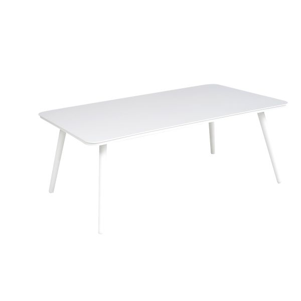 DERBY OUTDOOR ALUMINIUM LARGE RECTANGLE COFFEE TABLE WHITE 104 X 61 X H40 CM