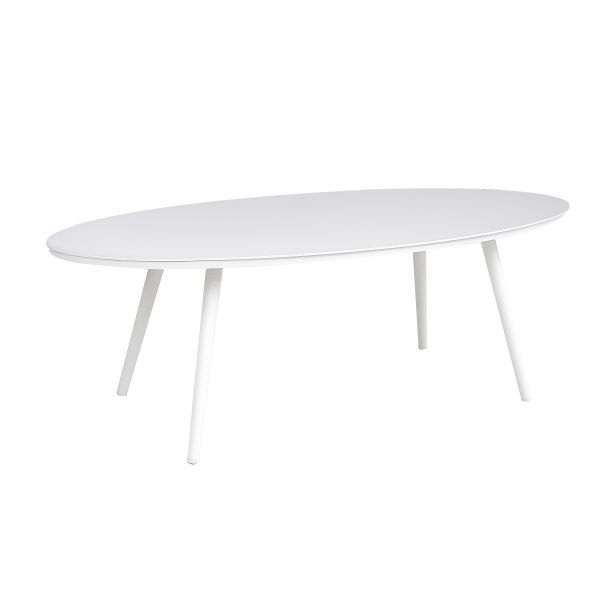 DERBY OUTDOOR ALUMINIUM OVAL COFFEE TABLE WHITE 119 X 58 X H40 CM