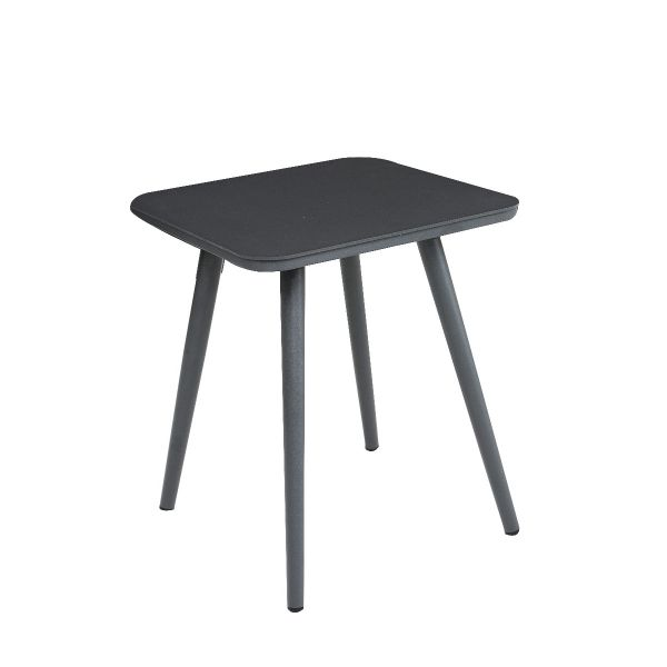 DERBY OUTDOOR ALUMINIUM SMALL SQUARE COFFEE TABLE CHARCOAL  40 X 40 X H48 CM