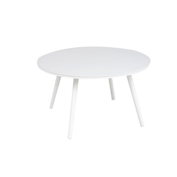 DERBY OUTDOOR ALUMINUM LARGE ROUND COFFEE TABLE WHITE  DIA 71 X 40.5 CM
