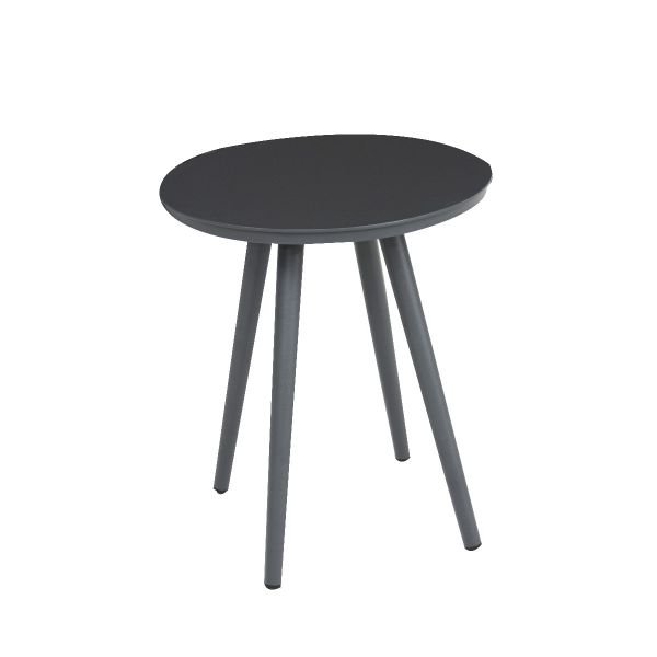 DERBY OUTDOOR ALUMINUM SMALL ROUND COFFEE TABLE CHARCOAL  DIA 40.5 X 48 CM