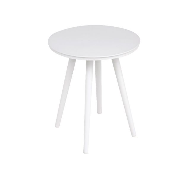 DERBY OUTDOOR ALUMINUM SMALL ROUND COFFEE TABLE WHITE  DIA 40.5 X 48 CM