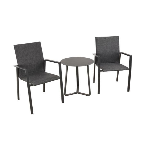 EDEN CHAIR APOLLO TABLE CHARCOAL-3PC OUTDOOR BALCONY SETTING