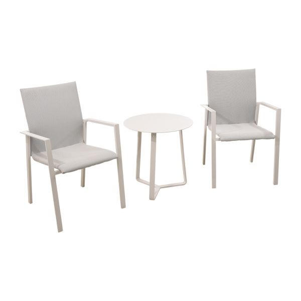 EDEN CHAIR APOLLO TABLE WHITE-3PC OUTDOOR BALCONY SETTING