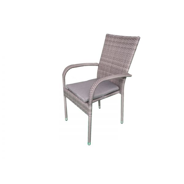 ELY OUTDOOR WICKER DINING  CHAIR CHARCOAL