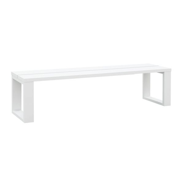 FERMO OUTDOOR ALUMINIUM BENCH SLAT TOP WHITE 200 X 40 CM