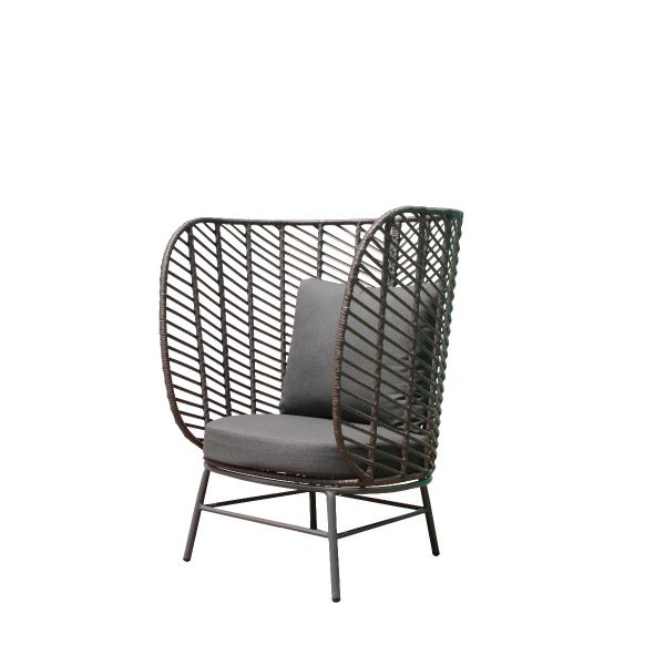 FLINT OUTDOOR WICKER LEISURE CHAIR CHARCOAL