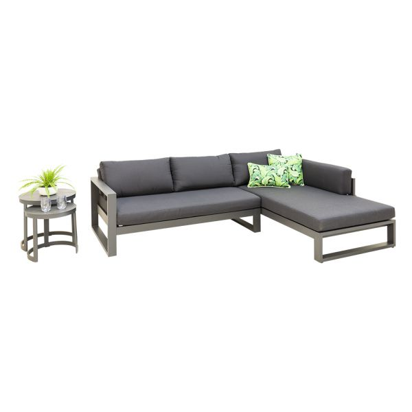 FORLI OUTDOOR 4 SEATER LOUNGE SETTING CHARCOAL