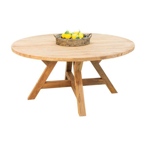 GRACE OUTDOOR RECYCLED TEAK DINING TABLE - DIA.160 x 76CM