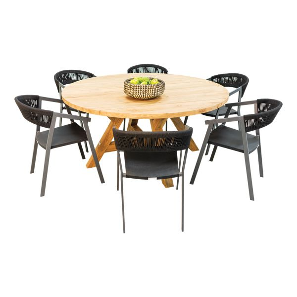 Grace Recycled Teak Table & Auto Alu Rope Chair Charcoal-7pc Outdoor Dining Setting