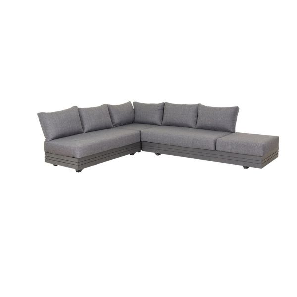 HANNOVER 6 SEATER OUTDOOR ALUMINIUM MODULAR LOUNGE SETTING  IN CHARCOAL-NO COFFEE TABLE