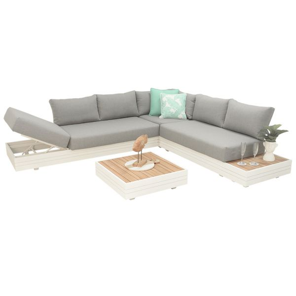 HANNOVER 6 SEATER OUTDOOR ALUMINIUM MODULAR LOUNGE SETTING WHITE-WITH TWO COFFEE TABLES