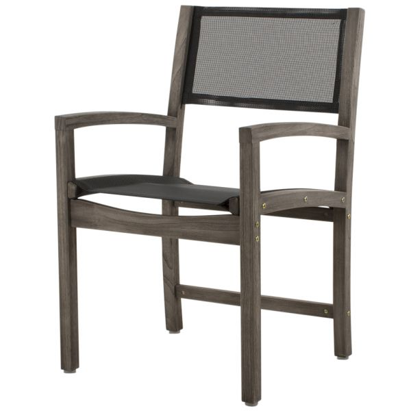 HAVANA OUTDOOR TEAK DINING CHAIR GREY WASH ARM BLACK SLING