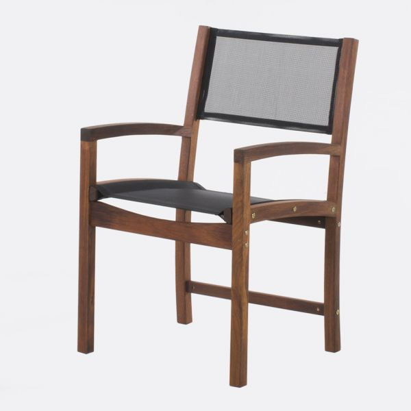 HAVANA OUTDOOR MERBAU DINING CHAIR BLACK SLING