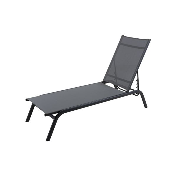 JUNE OUTDOOR SUNLOUNGER CHARCOAL/SILVER BLACK