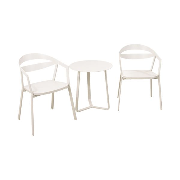 LA VIDA CHAIR APOLLO TABLE WHITE-3PC OUTDOOR BALCONY SETTING