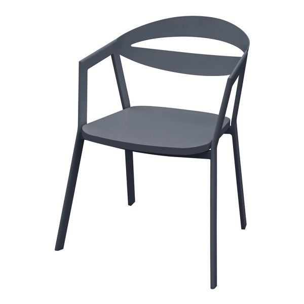 LAVIDA OUTDOOR ALUMINIUM DINING CHAIR CHARCOAL