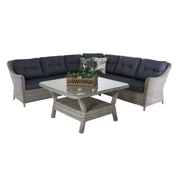 LAGUNA 5 SEATER OUTDOOR WICKER MODULAR LOUNGE DINING SETTING