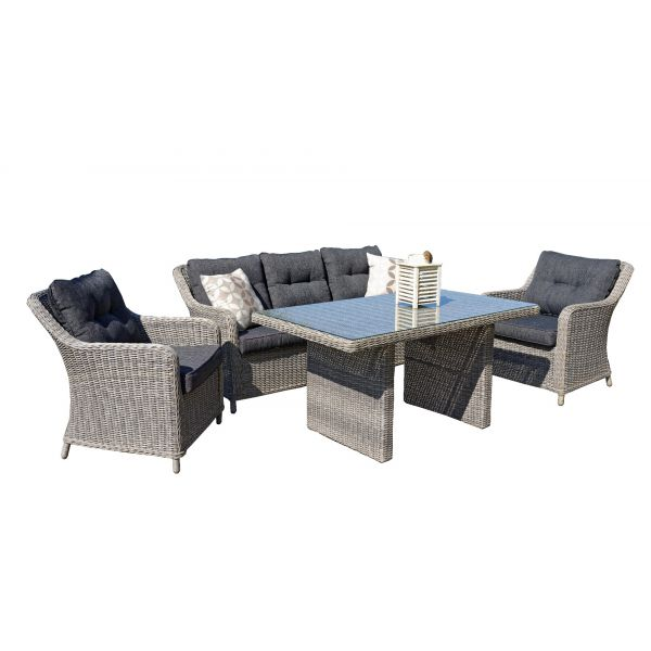 LAGUNA OUTDOOR 5 SEATER LOUNGE SETTING BROWN