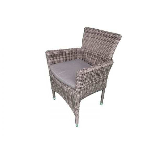 LANCASTER OUTDOOR WICKER DINING CHAIR CHARCOAL WITH GREY CUSHION