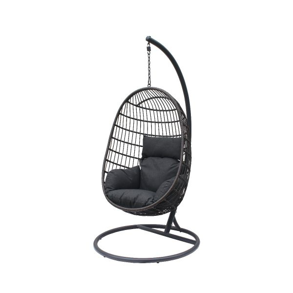 LANGLEY OUTDOOR WICKER HANGING EGG CHAIR CHARCOAL
