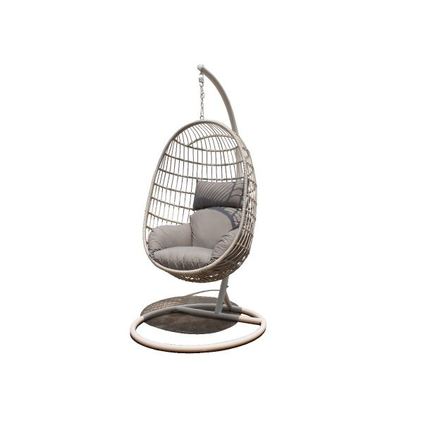 LANGLEY OUTDOOR WICKER HANGING EGG CHAIR WHITE