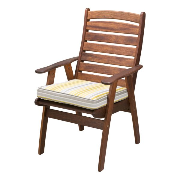 PARKER STRIPE OUTDOOR PAD CUSHION LARGE CITRON - 47 X 45 X 6CM