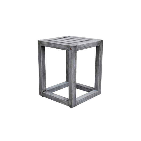 LATITUDE OUTDOOR TEAK STOOL GREY WASHED- 35W X 35D X 45H