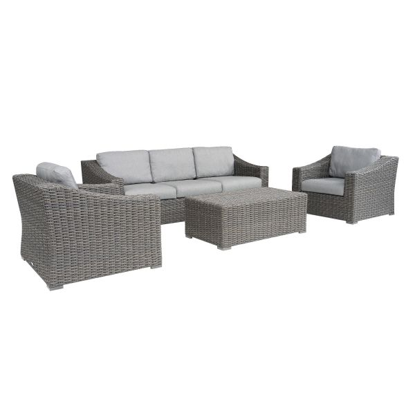 LECCO OUTDOOR 5 SEATER LOUNGE SETTING CHARCOAL