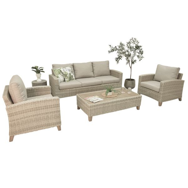 LEEDS 5 SEATER OUTDOOR WICKER LOUNGE SETTING