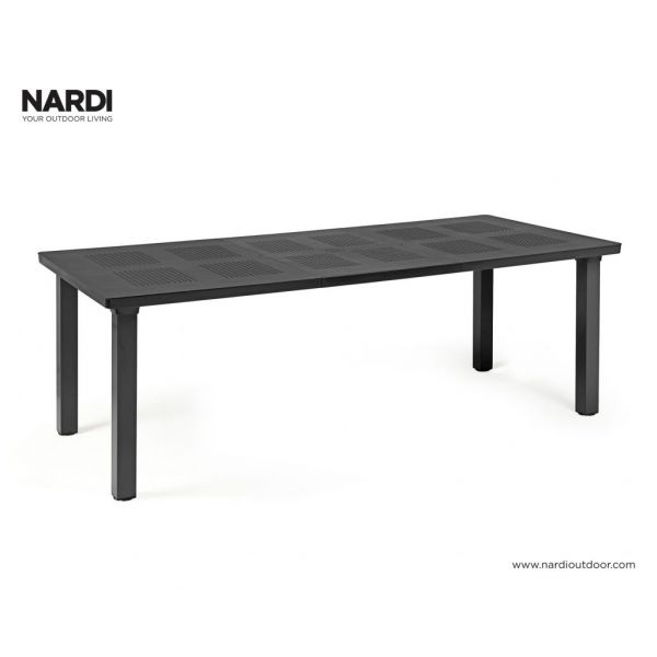 NARDI LEVANTE OUTDOOR RESIN EXTENSION DINING TABLE ANTHRACITE-160/220 x 100 CM