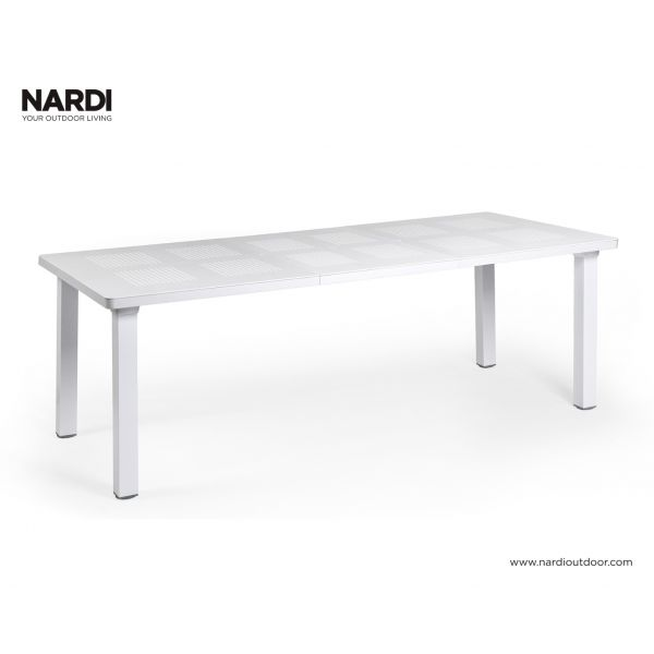 NARDI LEVANTE OUTDOOR RESIN EXTENSION DINING TABLE WHITE ( BIANCO)-160/220 x 100 CM