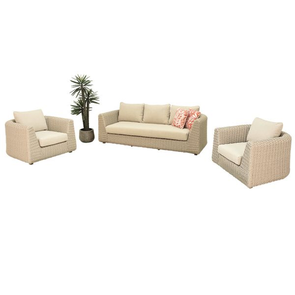 LICHFIELD OUTDOOR 4 SEATER WICKER LOUNGE BEIGE (WITHOUT COFFEE TABLE)