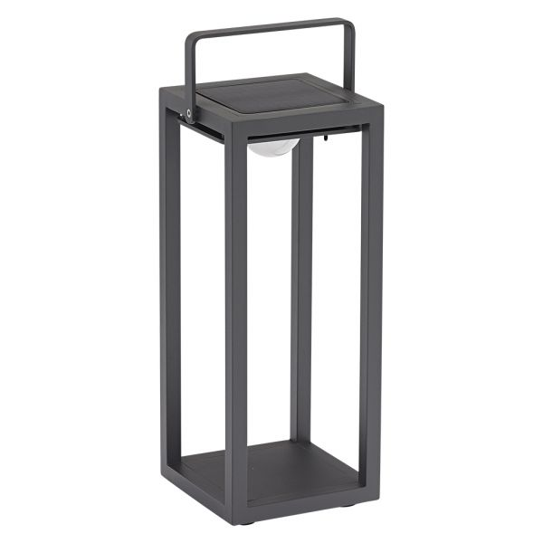 LINCOLN OUTDOOR ALUMINIUM SOLAR FLOOR LAMP LARGE CHARCOAL