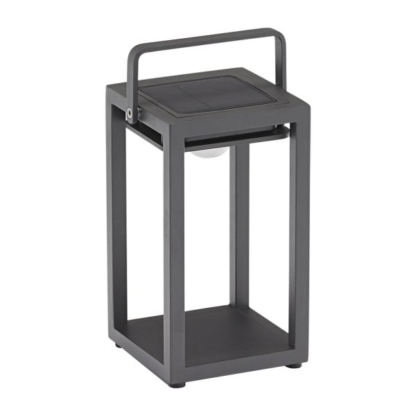 LINCOLN OUTDOOR ALUMINIUM SOLAR TABLE LAMP SMALL CHARCOAL