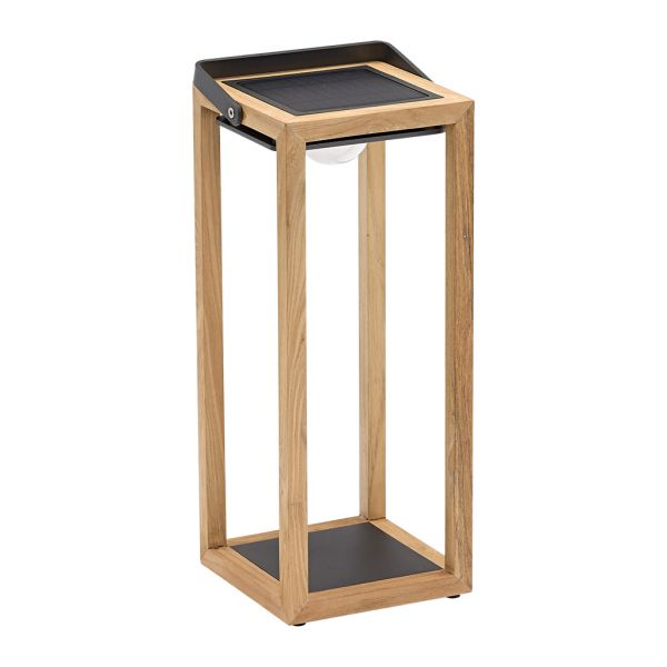 LINCOLN OUTDOOR TEAK SOLAR FLOOR LAMP LARGE