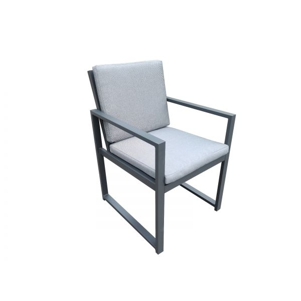 LIVERPOOL OUTDOOR ALUMINIUM DINING CHAIR CHARCOAL